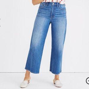 Madewell Wide Leg Crop Jeans in Finney Wash